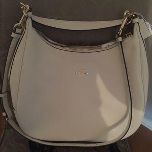 Designer new cream leather bag & light gold trim